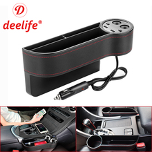 Deelife Car Seat Gap Organizer Slit Pocket PU Case Storage Box Cup Drink Holder Auto Seat Side Organizer