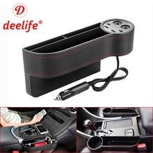 Deelife Car Seat Gap Organizer Slit Pocket PU Case Storage Box Cup Drink Holder Auto Seat Side Organizer