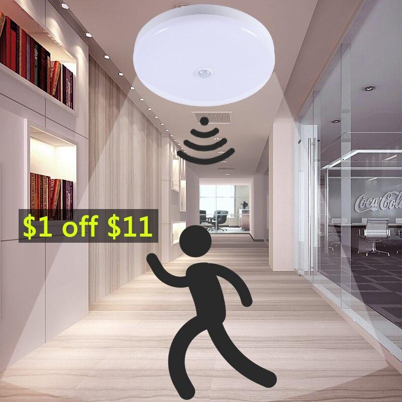 E27 Lamp With Motion Sensor Light Bulb PIR Sensor Night Lamps Light 5W 7W 9W 12W 18W Smart Home LED Ceiling Lamp Stair Hallway