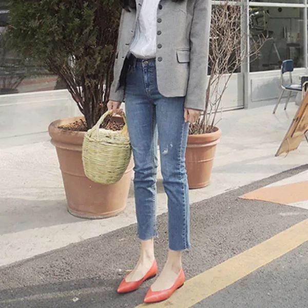 2018 Spring New Style High-waisted Micro Trumpet Jeans WOMEN'S Ninth Pants South Korea Slim Fit Slimming CHIC Skinny Pants