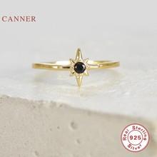 Inmaker Acht Puntige Ster Zwarte Diamanten Ring 100% 925 Sterling Zilver Anillos Ringen Voor Vrouwen Luxe Fijne Sieraden Trouwringen