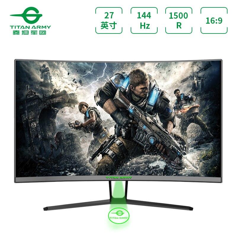Monitor de ordenador TITAN ARMY n27sqplus, 1500r, pantalla curva, 2k144hz, monitor de juego, HD, oficina, LCD