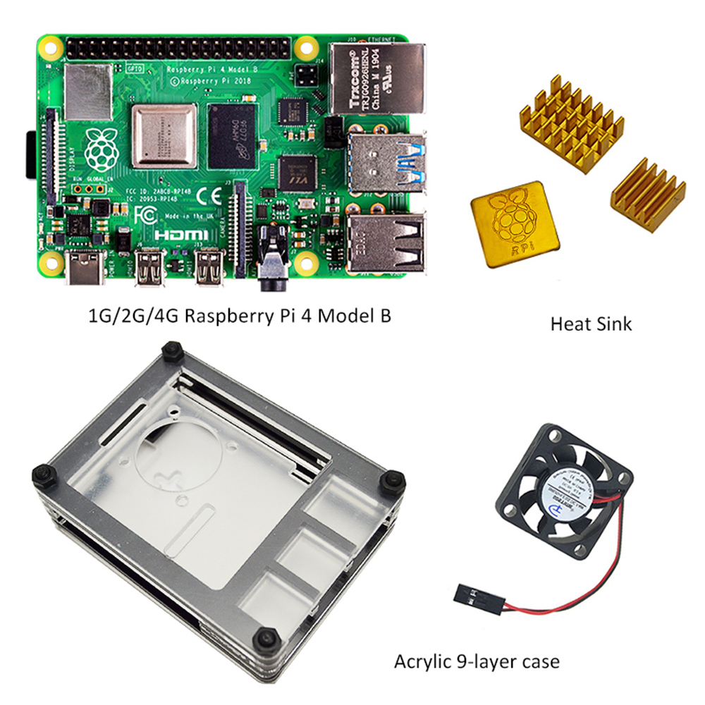 2019 Raspberry Pi 4 model B Start Kit - 1GB/2GB/4GB RAM With Pi 4 B New 9 Layers Case with fan and the heat sink Cooling Kit image