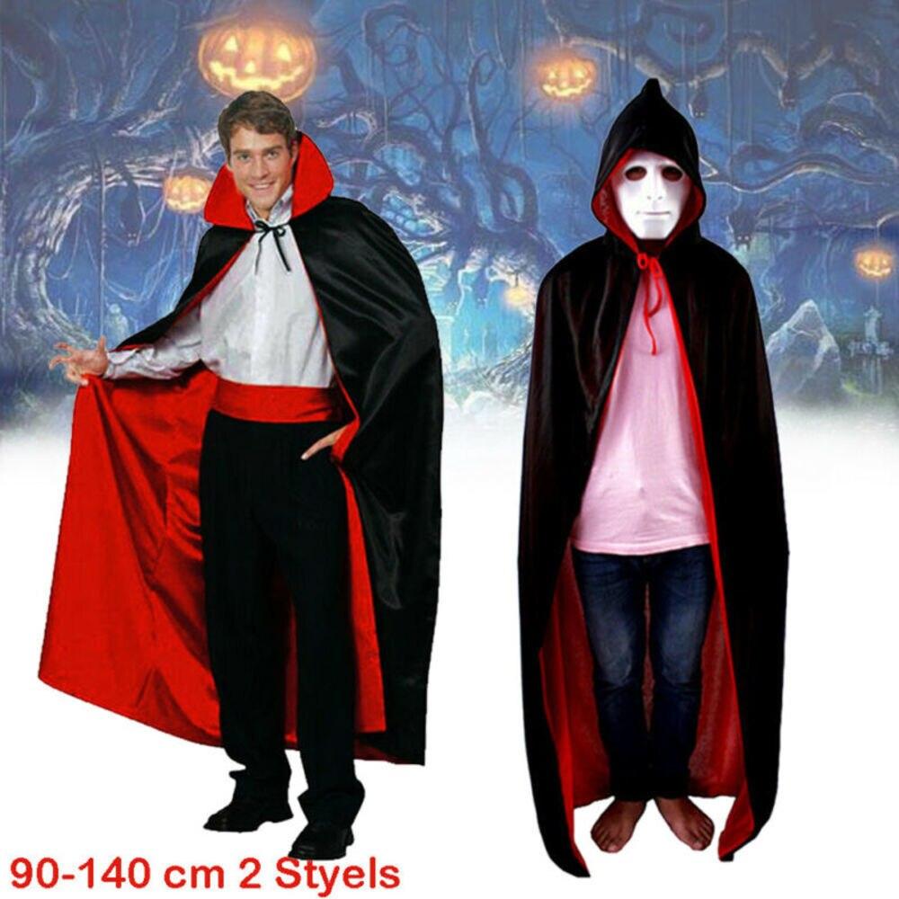 Long Black Velvet Cape Dracula Halloween Fancy Dress Costume Vampire Outfit