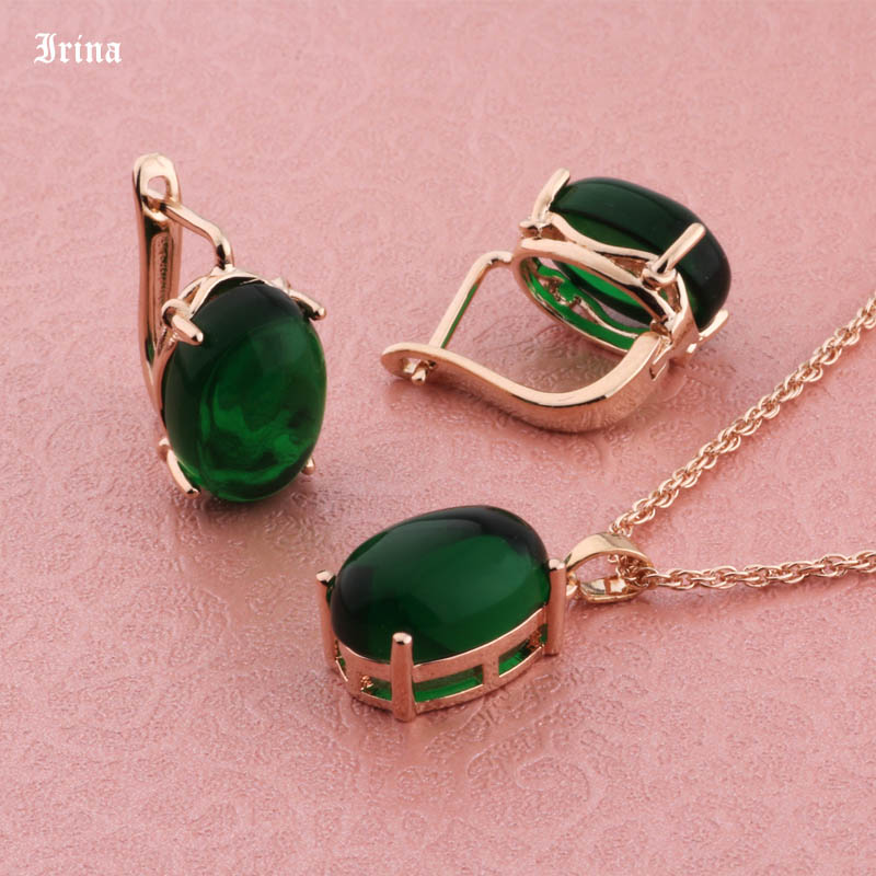 Irina Good Sale Fashion Jewelry Sets For Women Wedding Hollow Oval Shape 585 Rose Gold Color Pendant Necklace and Earrings
