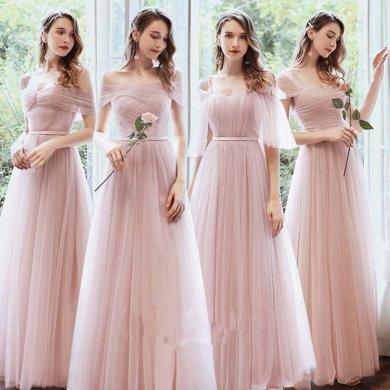 New Pink Elegant Bridesmaid Dresses Long Mismatched Dusty Green Prom Gown for Wedding Party Vestidos De Fiesta De Noche