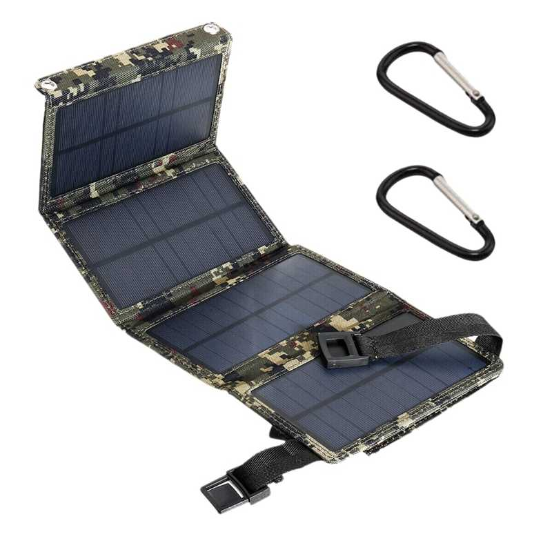 15W 5V 2A Sun Power USB Solar Panel Camping Hiking Charger Telepon-Kamuflase
