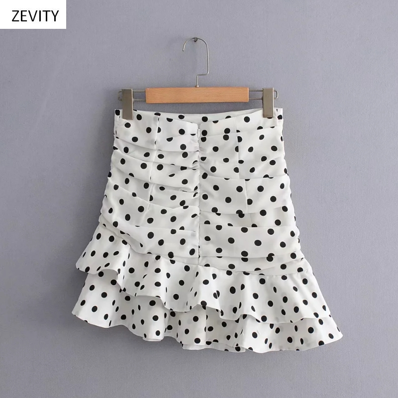 Polka Dot Print Pleated Asymmetrical Skirt 5