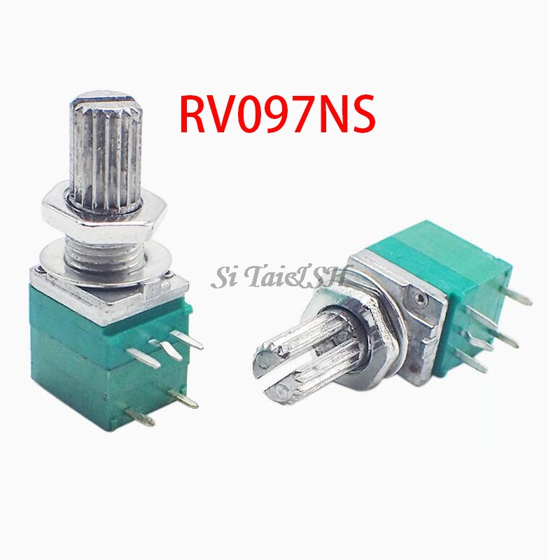5pcs RV097NS 5K 10K 20K 50K 100K 500K With A Switch Audio 5pin Shaft 15mm  Amplifier Sealing Potentiometer