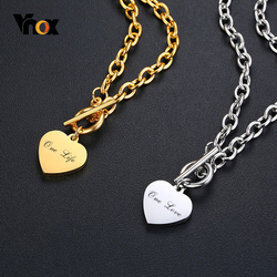 Vnox Women Personalize Love Name Necklaces for Men Stainless Steel Link Chain with Heart Coin Charm Custom Unisex Gifts