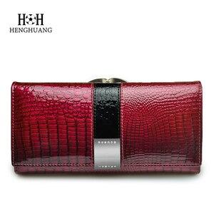 Image 2 - HH luksusowe prawdziwej skóry kobiet portfele patentu Alligator torba kobiece wzornictwo sprzęgła długo wielofunkcyjny uchwyt na monety karty