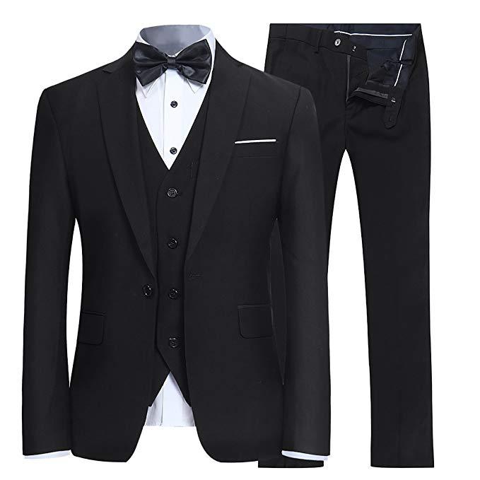 Black Men's Slim Fit 3 Piece Suit One Button Blazer Tux Vest & Trousers