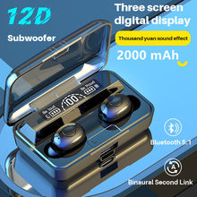 TWS Bluetooth Headphone 5.1 Mini Wireless Headphone Noise CancellingEarbud microphone Sport waterproof Headset With Charging Box