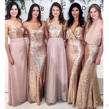 Blush Pink Beach Wedding Bridesmaid Dresses Spaghetti Straps Maid of Honor Gowns Rose Gold Sequin Party Formal Prom Dress 2020