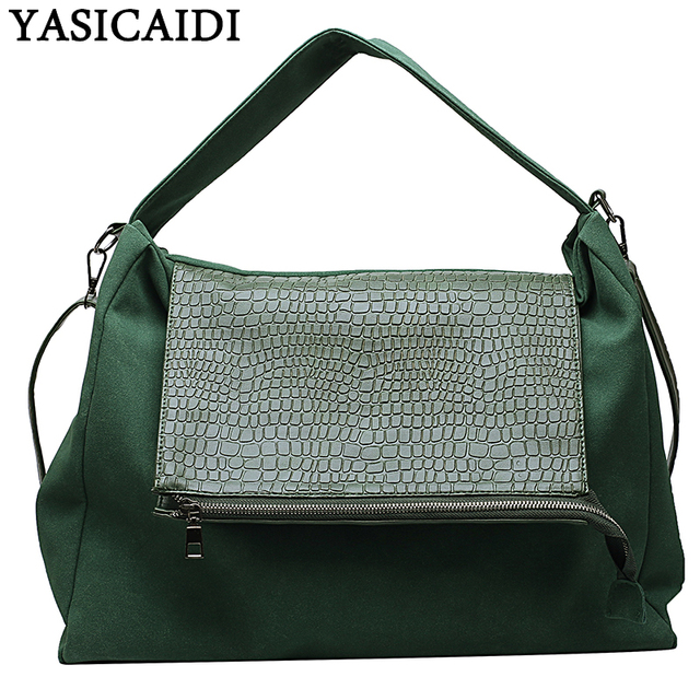 YASICAIDI 2019 Large Capacity Women Shopping Handbag Crocodile PU Big Female Crossbody Shoulder Bag Casual Tote Ladies Hand Bags