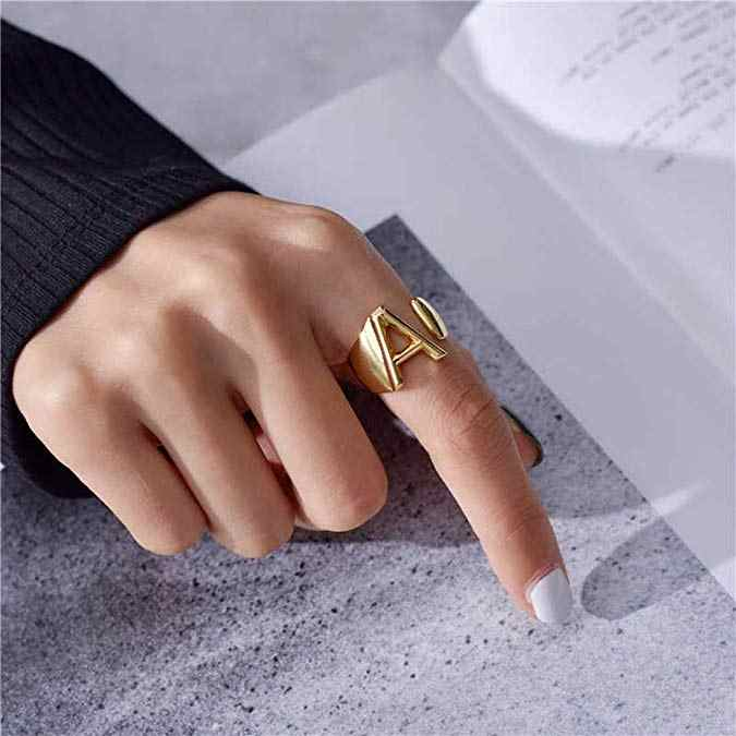 Cute Female A-Z Letter Metal Ring Charm Silver Gold Adjustable Engagement Ring Fashion Opening Wedding Rings For Women