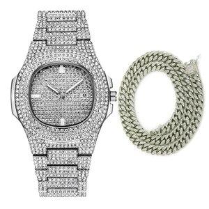 Часы мужские, повседневные, водонепроницаемые, кварцевые, с бриллиантом, 18 К, золотое украшение