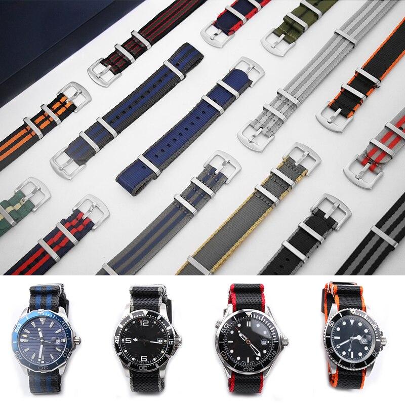 20mm 22mm Man Nato Sports Belts WatchBand Bracelet For Seamaster 300 600 Black Bay Strap Nylon Watchbands James Bond Watch Tools