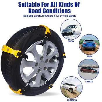 Hot 10pcs Winter Car Tire Snow Chains Adjustable Anti-skid Chain Safety Double Snap Skid Wheel TPU Winter Use For Truck Car SUV