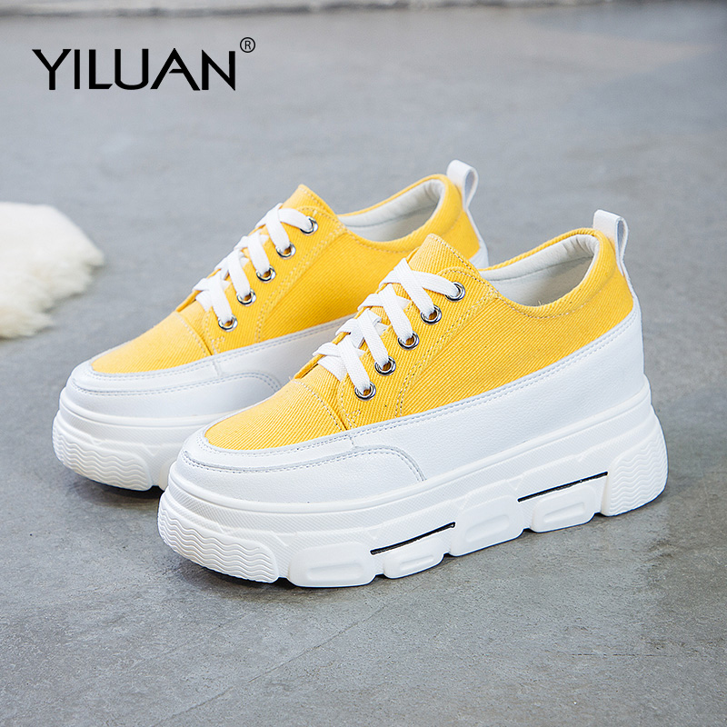 Yiluan 2020 Spring Summer New Canvas Women Sneakers Student White Shoes Girl Platform Small Size Casual Woman Shoes 32 33 34