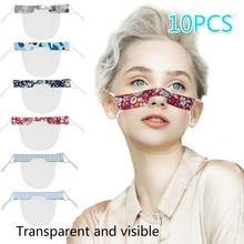 10PCS Mini Shield Washable Anti-fog Mask Reusable Comfortable Protective Face Wear Transparent PVC Visual Shield Splash Screen