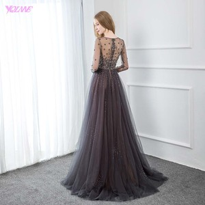 Image 2 - YQLNNE Elegant Gray Long Sleeve Evening Dress O Neck Beaded Tulle Formal Women Evening Gowns