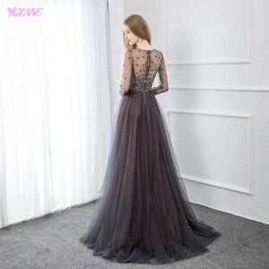 Image 2 - YQLNNE élégant gris à manches longues robe de soirée O cou perlé Tulle formel femmes robes de soirée