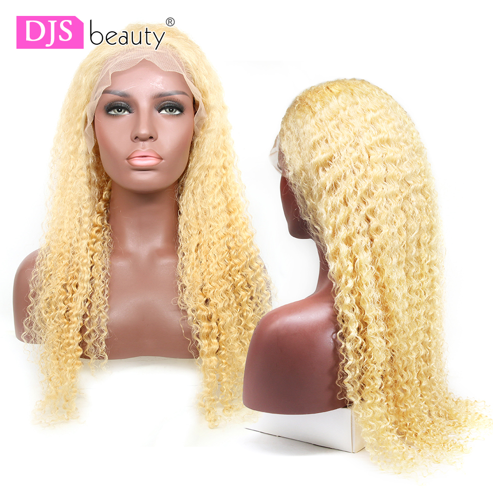 Transparent Lace 613 Blonde Curly Lace Frontal Wig Brazilian Remy Hair 13x6 Deep Wave Lace Front Human Hair Wig Pre Plucked image