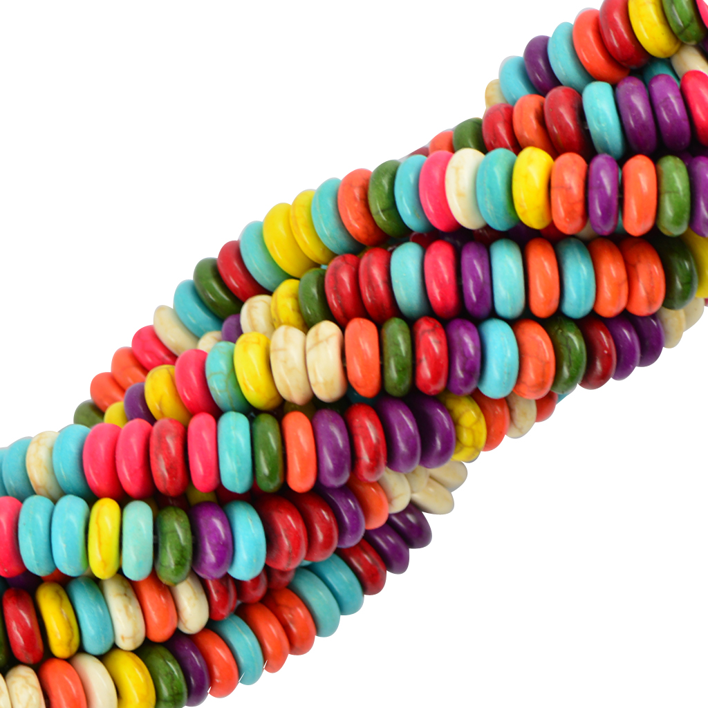 122 Pcs 8mm Howlite MultiColor Heishi Rondelle Spacer Loose Beads