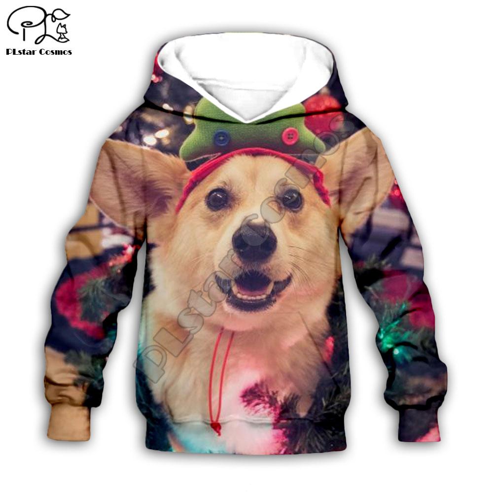 Kid santa Dogs 3D print hoodie children baby boy girl clothing merry christmas gift Sweatshirt zipper