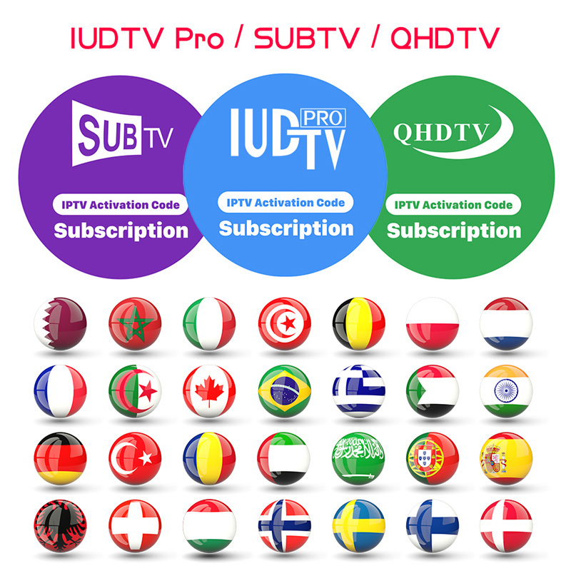 QHDTV IUDTV SUBTV IPTV Code d'abonnement IPTV suède arabe allemagne Canada France belgique espagne Portugal italie turquie grec IPTV