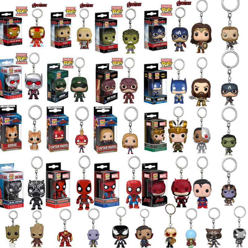 FUNKO POP Marvel Avengers Goose Mysterio Stan Lee  THANOS Venom Deadpool Pocket Keychain Action Figure Toys For Children Gift