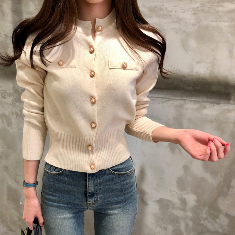 Knitted Women's Short Cardigan Sweater Korean Single Breasted Long Sleeve Sweaters Female 2019 Autumn Spring Cardigans Women