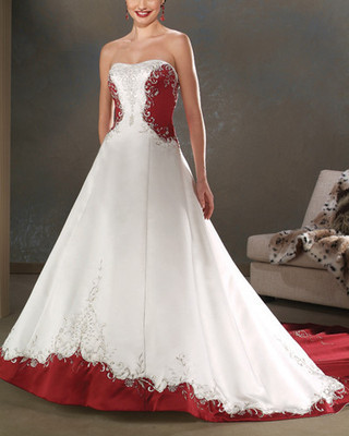 Free Shipping 2020 New Sweetheart Custom White And Red Satin Embroidery Wedding Bridal Prom Dress Gown Custom Beading