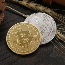 Металлический Сувениры Биткоин позолоченный бронзовый физической Casascius коллекция памятная монета-валюта BTC с Чехол