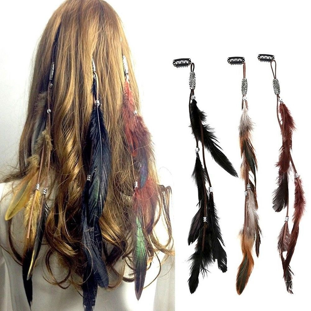 Fashion Women Feather Hair Tassel Headdress Hair Ornaments For Girls Indian Style Hairpiece Rubber Band BB Clip Hair Accessories