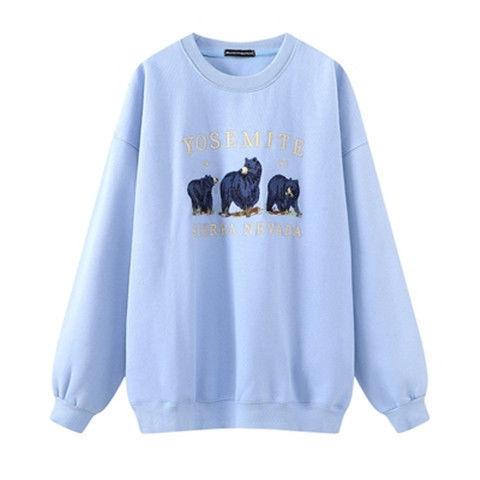 Vintage Bear Embroidery Sweatshirts Hoodies Women Harajuku Streetwear Casual Long Sleeve Crewneck Oversized Fashion Hoodie Woman 7