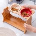 Милые домашние животные двойная миска собака кошка пищевая вода кормушка подставка поднятая керамическая миска деревянный стол товары для...