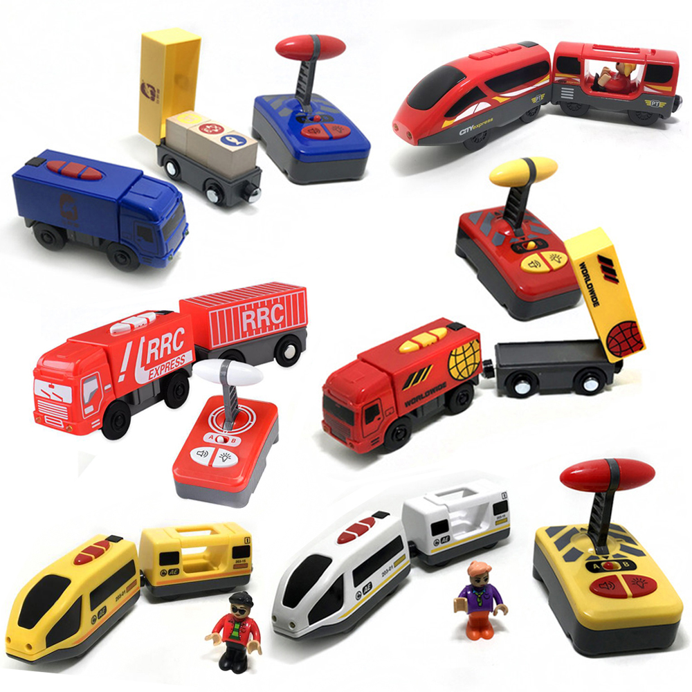 Remote control electric train and truck magnetic link <font><b>compatible</b></font> wood track Children remote control <font><b>car</b></font> toy Remote magnetic <font><b>car</b></font> image
