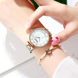 Image 3 - CURREN montre à Quartz Simple et créative en maille dacier pour femmes, nouvelle horloge, Bracelet pour dames