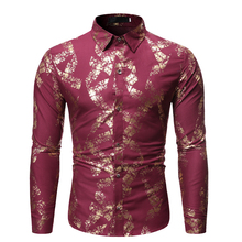 Mens Long Sleeve Shirt Hot Stamping  Male Slim Fit Tops Homme Temperament Business Spring Casual long-sleeve shirt