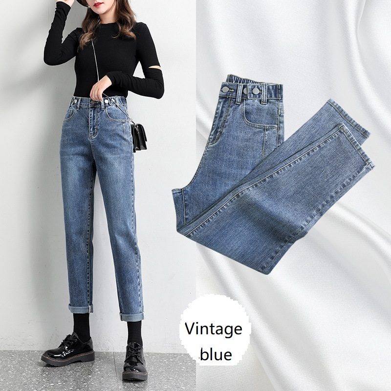 High Waist Baggy Mom Jeans Capri Slim Elastic Waist Harem Pants Button Fly Pockets Washed Ankle-Length Pants Fall 2020 Women