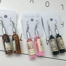 Креативные трендовые длинные серьги в виде бутылки вина стеклянные