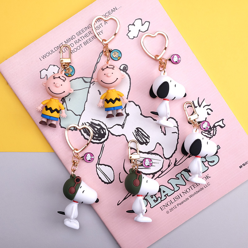 Fashion Cartoon Cute Charlie Browm Keychains Snoopy Bag Key Chain Pendant For Girl Bag Keyring Gifts Kids Gift Key Chains