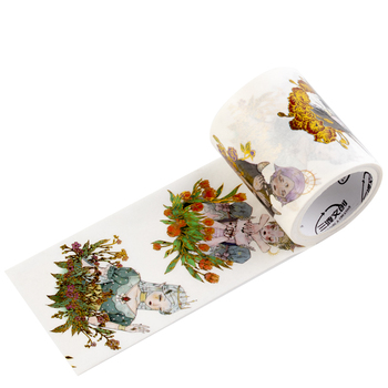 Adhesive Gilding Special Oil Dark System Reading Flowers Sleepless Characters Text Style Washi Tape