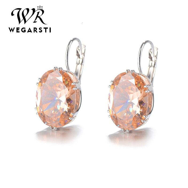 WEGARASTI Silver 925 Jewelry Eaaring 100%  Sterling Silver 925 Eaaring Citrine Gemstone Woman Silver Eaaring Fine Jewelry
