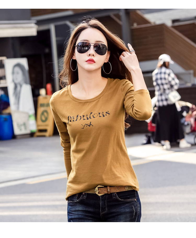 T-Shirts Fall Loose Long-Sleeved Printed Garment Han-Edition of Render Unlined New
