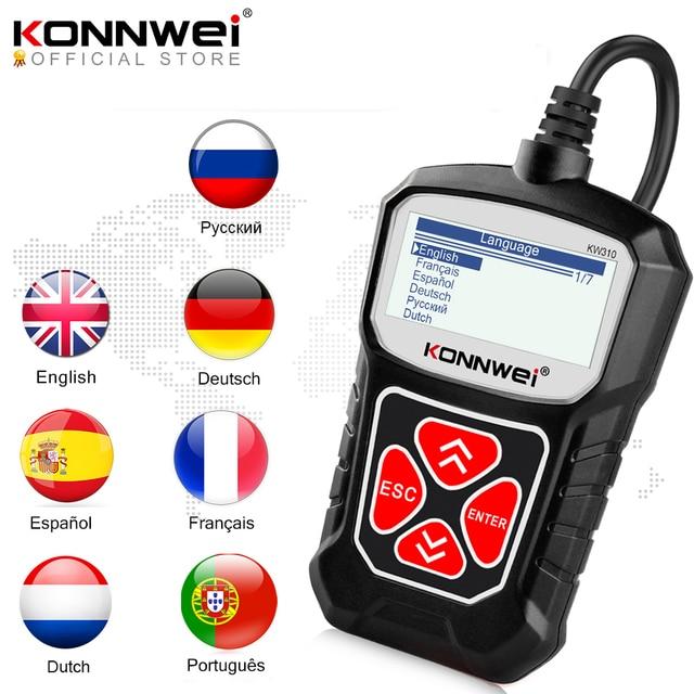 KONNWEI KW310 OBD2 сканер для Авто OBD 2 Автомобильный сканер диагностический инструмент Автомобильный сканер автомобильные инструменты русский язык PK Elm327