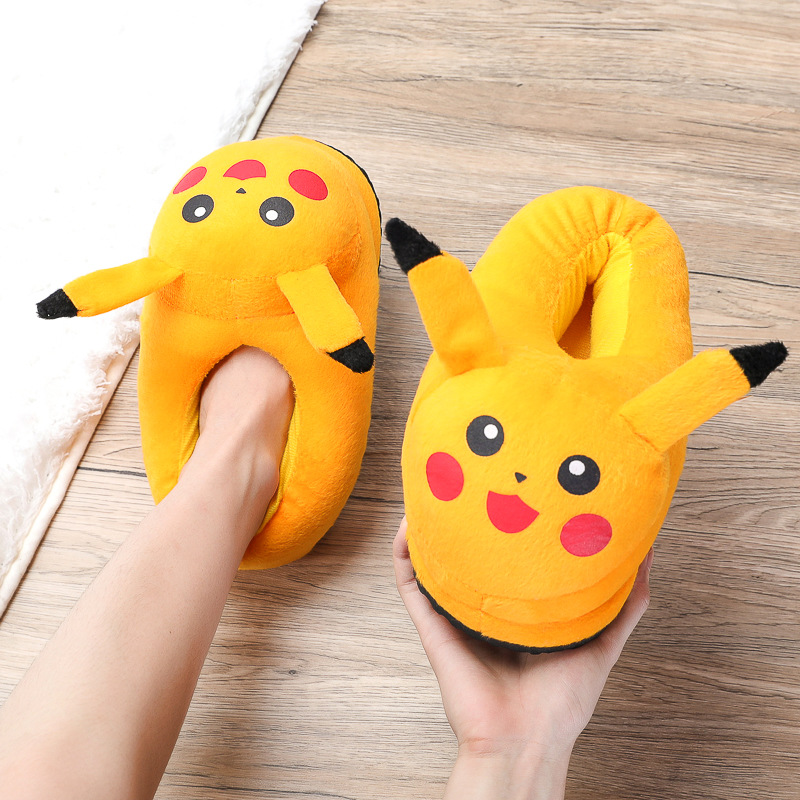 2019 New Anime Cartoon Pokemon Children Slippers Lovers Warm Woman Slippers Elf Ball Pikachu Go Plush Shoes Home House Slippers
