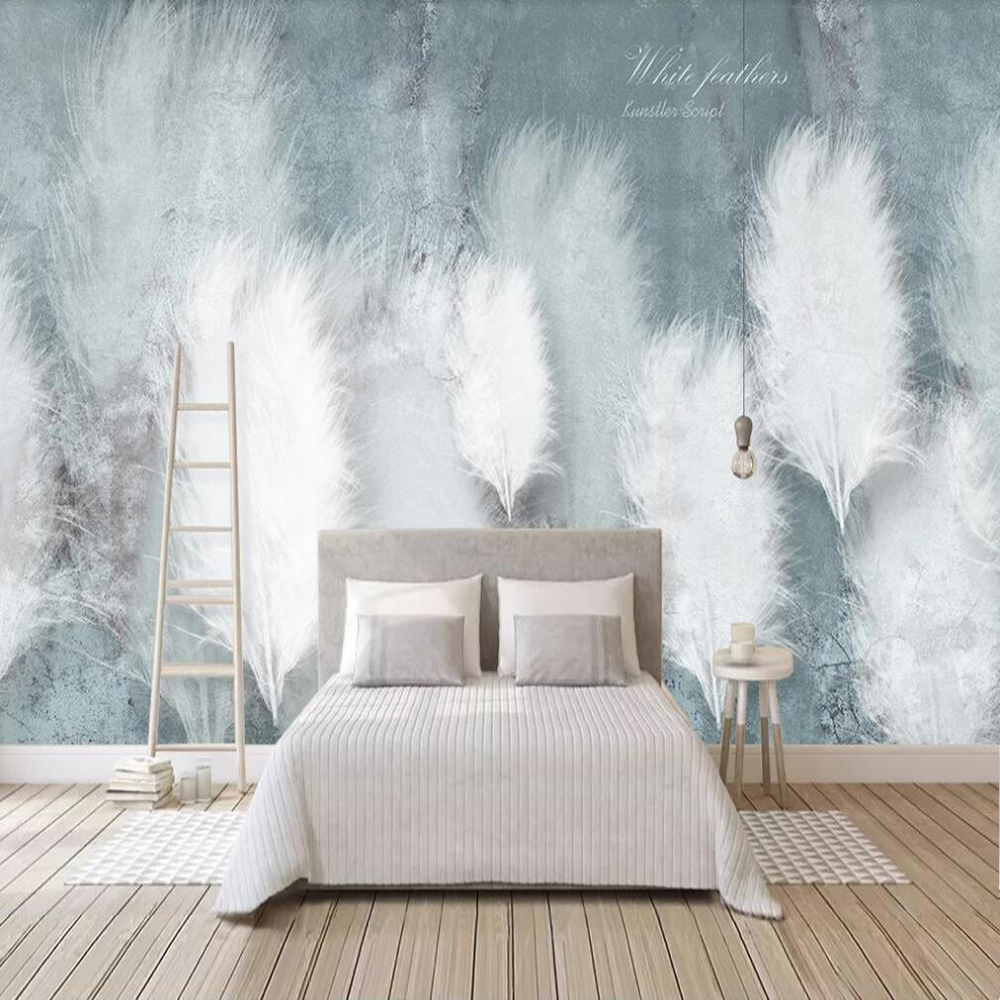 Dropship Custom Large 3D Wallpaper Murals Fashion Feathers Small Fresh Nordic TV Background Wall Decoration Wallpaper Murals